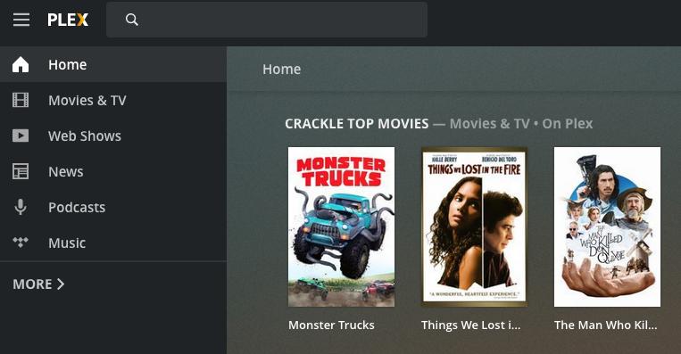 Screenshot of Plex home screen